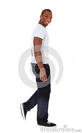 Attractive man walking
