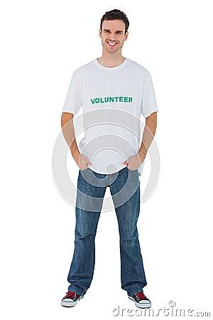 Attractive man wearing volunteer tshirt