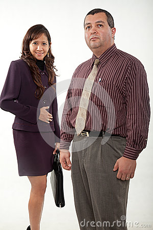 Attractive man and woman business people