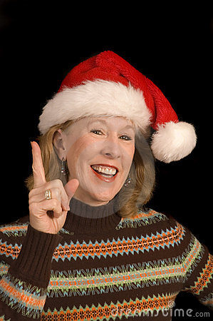 Attractive middle-aged woman in Santa Hat