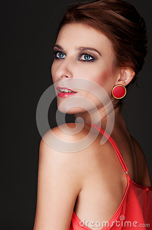Attractive model over dark background