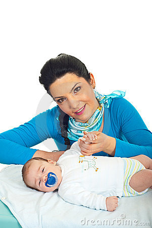 Attractive mother with newborn baby