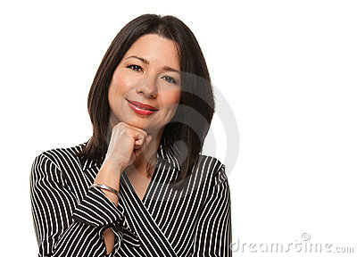Attractive Multiethnic Woman Resting Chin on Hand