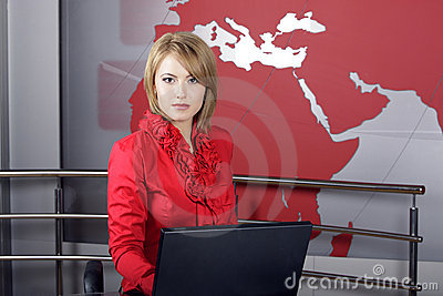 Attractive news television presenter Editorial Stock Image