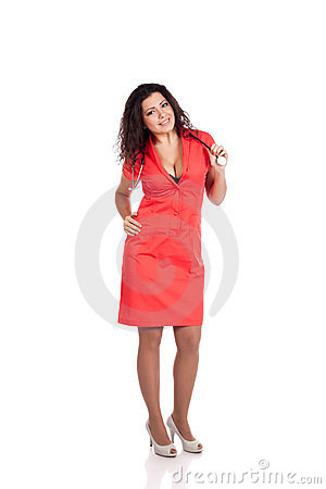 Attractive nurse in orange with stethoscope