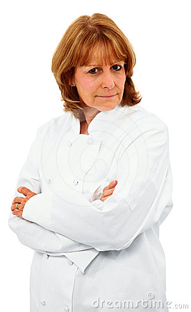 Attractive Older Female Chef With Arms Crossed