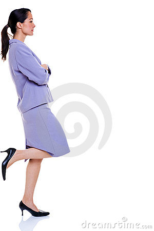 Attractive professional business woman leaning