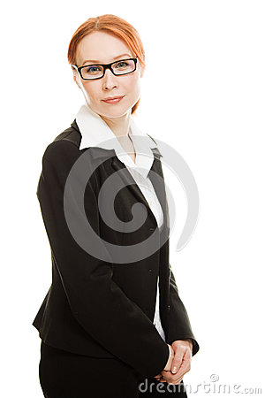 Attractive red-haired  business woman in glasses