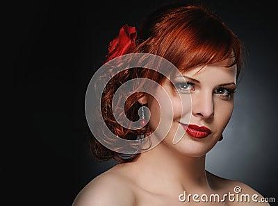 Attractive redhead woman