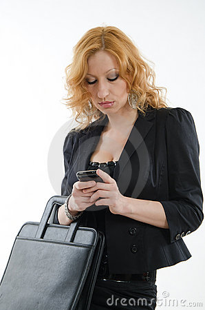 Attractive russian blond businesswoman