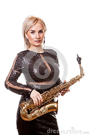 Free Attractive Saxophonist Woman Playing At Her Musical Instrument Royalty Free Stock Photography - 103551217