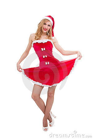 Attractive sexy girl wearing santa claus clothes