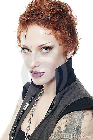 Attractive sexy woman with short red hair