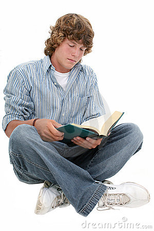 Free Attractive Sixteen Year Old Teen Boy Reading Book Stock Images - 193104