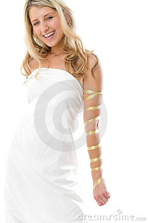 Attractive smiling girl dressed like a Greek