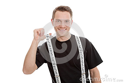 Attractive smiling musician with suspenders