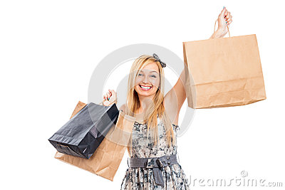 Attractive smiling woman with shopping bags