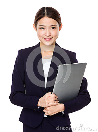 Free Attractive Smiling Young Business Woman Holding Laptop Computer Stock Photos - 51525913