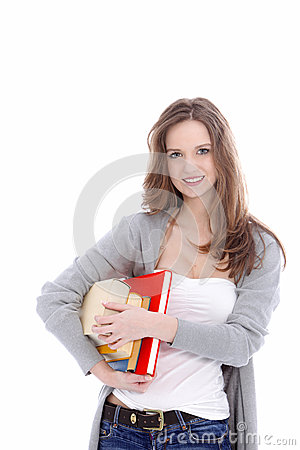 Attractive student carrying her books