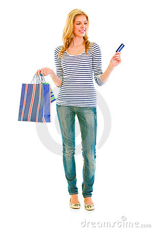 Attractive teen girl with shopping bags