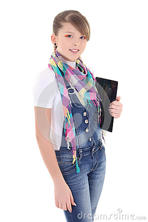 Attractive teenage  girl holding tablet pc over white