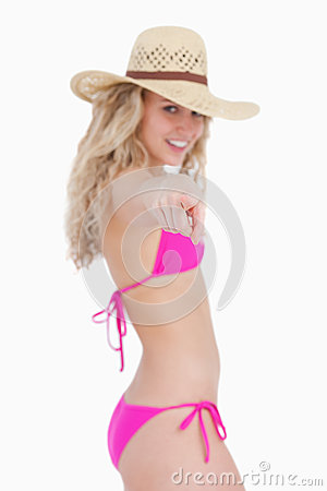 Attractive teenager in beachwear