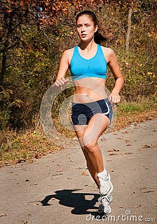 Attractive teenager running