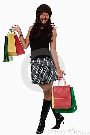 Attractive thirties asian woman shopping lifestyle