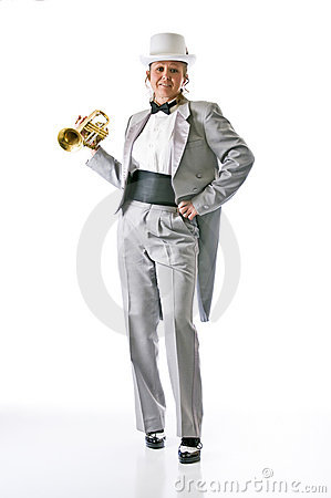 Attractive trumpet player