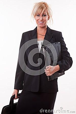 Attractive twenties caucasian blonde businesswoman