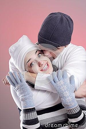 Attractive winter couple