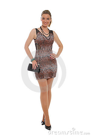 Attractive woman in animal print dress