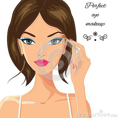 Free Attractive Woman Applying Eyeshadow. Fashion Royalty Free Stock Photo - 55277015