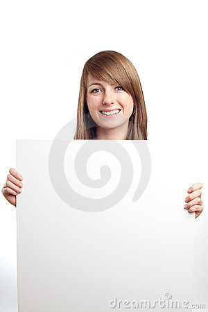 Attractive woman with blank sign. Smiling.