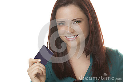 Attractive woman with card