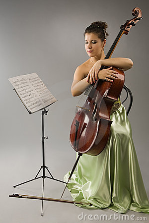 Attractive woman with cello