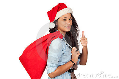 Attractive woman with Christmas saying Ok