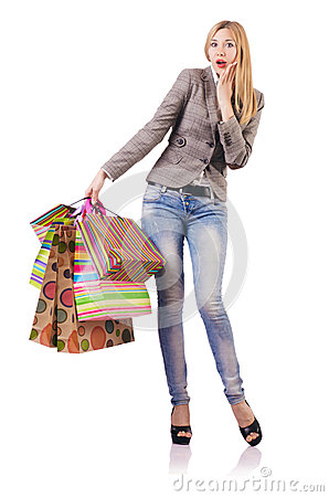 Attractive woman after christmas shopping