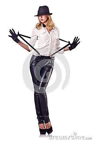 Attractive woman dancing in suit