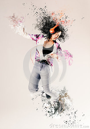 Free Attractive Woman Dancing To Her Music Royalty Free Stock Image - 52017566