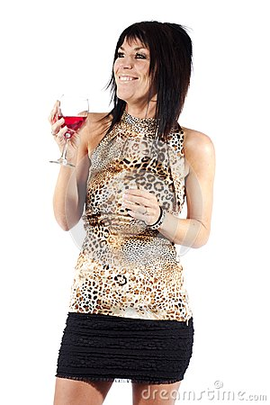 Attractive woman drinking wine