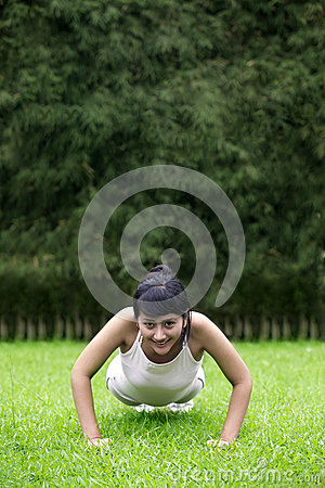 Attractive woman exercising outdoor