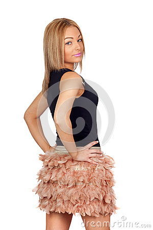 Attractive woman with a feather skirt