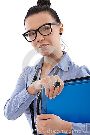 Attractive woman with folders