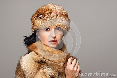 Attractive woman in fur