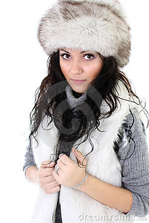 Attractive woman in fur hat