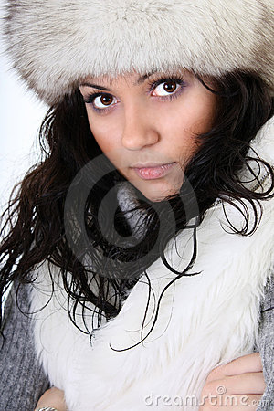Attractive woman in fur hat