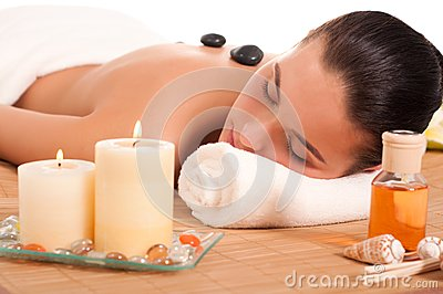 Attractive woman getting spa treatment.