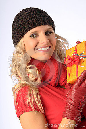 Attractive Woman with Gift