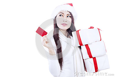 Attractive woman with gift card-isolated in white